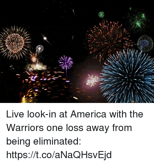 America, Sports, and Live: Live look-in at America with the Warriors one loss away from being eliminated: https://t.co/aNaQHsvEjd