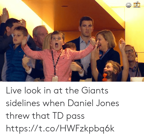 Football, Nfl, and Sports: Live look in at the Giants sidelines when Daniel Jones threw that TD pass https://t.co/HWFzkpbq6k