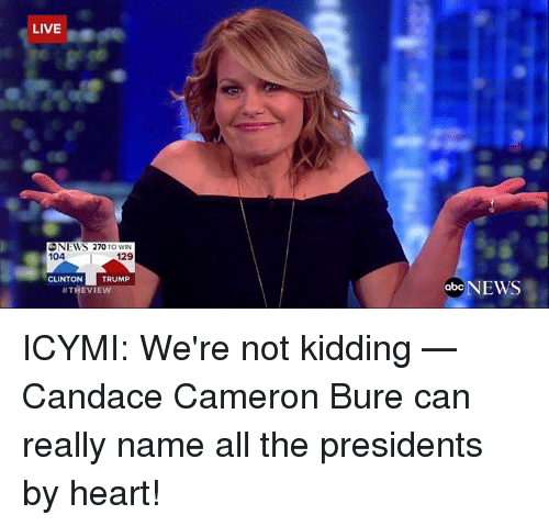 Clinton Trump: LIVE  NEWS 270 TO WIN  104  129  CLINTON  TRUMP  #THEVIE  abc  NEWS ICYMI: We're not kidding — Candace Cameron Bure can really name all the presidents by heart!