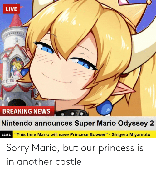 "Bowser, News, and Nintendo: LIVE  titi: mi  BREAKING NEWS  Nintendo announces Super Mario Odyssey 2  22:31  ""This time Mario will save Princess Bowser"" - Shigeru Miyamoto Sorry Mario, but our princess is in another castle"