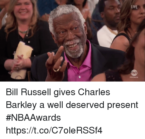 Charles Barkley: LIVE  WNBAAwards Bill Russell gives Charles Barkley a well deserved present #NBAAwards  https://t.co/C7oleRSSf4