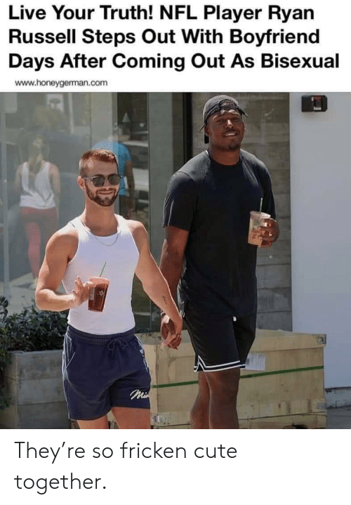Cute, Nfl, and Live: Live Your Truth! NFL Player Ryan  Russell Steps Out With Boyfriend  Days After Coming Out As Bisexual  www.honeygerman.com  Mi They're so fricken cute together.