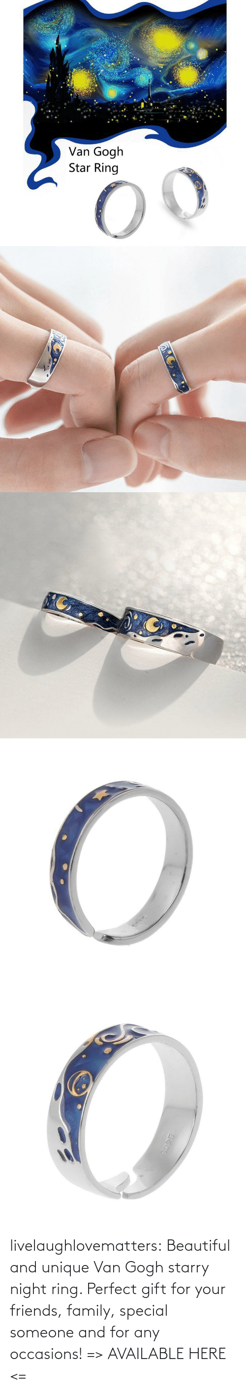 sky: livelaughlovematters: Beautiful and unique Van Gogh starry night ring. Perfect gift for your friends, family, special someone and for any occasions! => AVAILABLE HERE <=