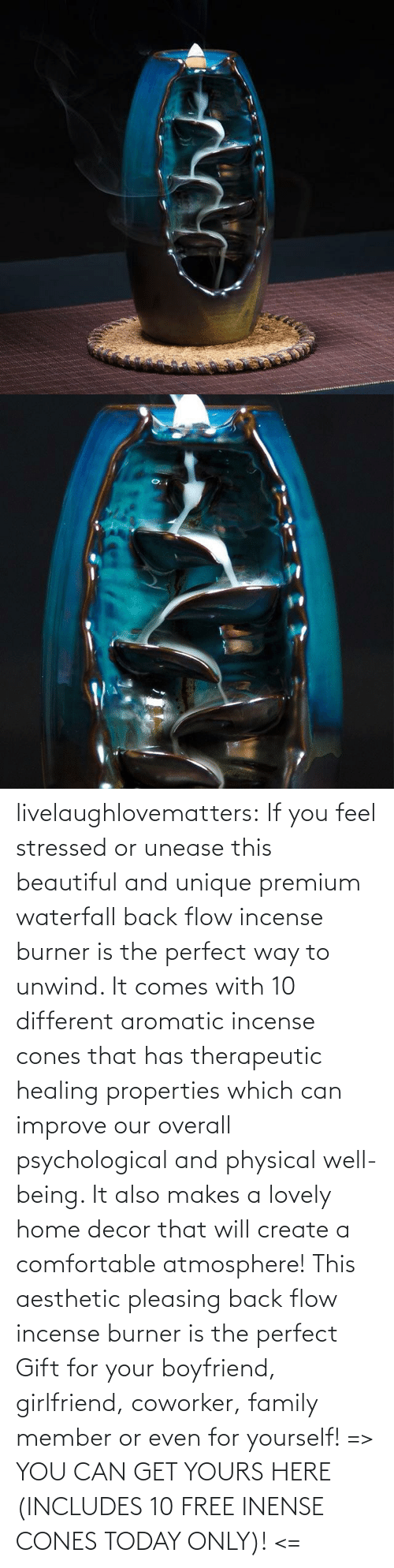 comfortable: livelaughlovematters: If you feel stressed or unease this beautiful and unique premium waterfall back flow incense burner is the perfect way to unwind. It comes with 10 different aromatic incense cones that has therapeutic healing properties which can improve our overall psychological and physical well-being. It also makes a lovely home decor that will create a comfortable atmosphere! This aesthetic pleasing back flow incense burner is the perfect Gift for your boyfriend, girlfriend, coworker, family member or even for yourself! => YOU CAN GET YOURS HERE (INCLUDES 10 FREE INENSE CONES TODAY ONLY)! <=