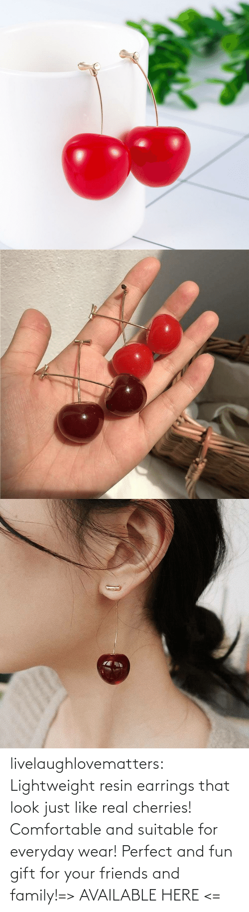 comfortable: livelaughlovematters:  Lightweight resin earrings that look just like real cherries! Comfortable and suitable for everyday wear! Perfect and fun gift for your friends and family!=> AVAILABLE HERE <=