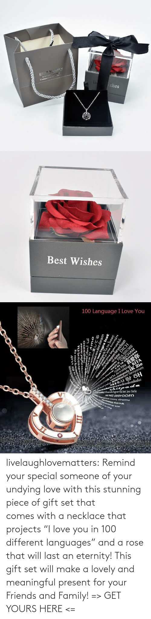 "tumblr: livelaughlovematters:  Remind your special someone of your undying love with this stunning piece of gift set that comes with a necklace that projects ""I love you in 100 different languages"" and a rose that will last an eternity! This gift set will make a lovely and meaningful present for your Friends and Family! => GET YOURS HERE <="