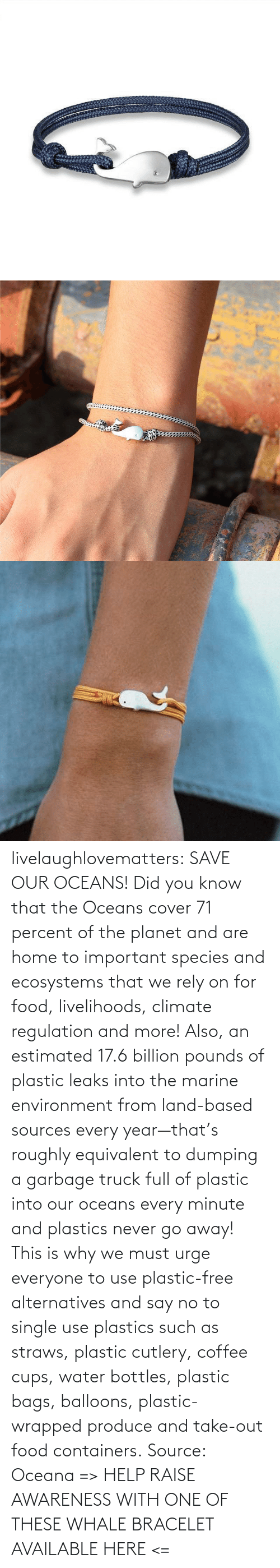 out: livelaughlovematters: SAVE OUR OCEANS!  Did you know that the Oceans cover 71 percent of the planet and are home to important species and ecosystems that we rely on for food, livelihoods, climate regulation and more! Also, an estimated 17.6 billion pounds of plastic leaks into the marine environment from land-based sources every year—that's roughly equivalent to dumping a garbage truck full of plastic into our oceans every minute and plastics never go away! This is why we must urge everyone to use plastic-free alternatives and say no to single use plastics such as straws, plastic cutlery, coffee cups, water bottles, plastic bags, balloons, plastic-wrapped produce and take-out food containers. Source: Oceana => HELP RAISE AWARENESS WITH ONE OF THESE WHALE BRACELET AVAILABLE HERE <=