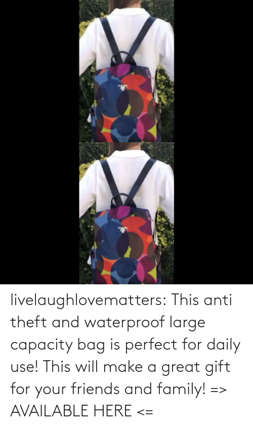 A Great: livelaughlovematters: This anti theft and waterproof large capacity bag is perfect for daily use! This will make a great gift for your friends and family! => AVAILABLE HERE <=