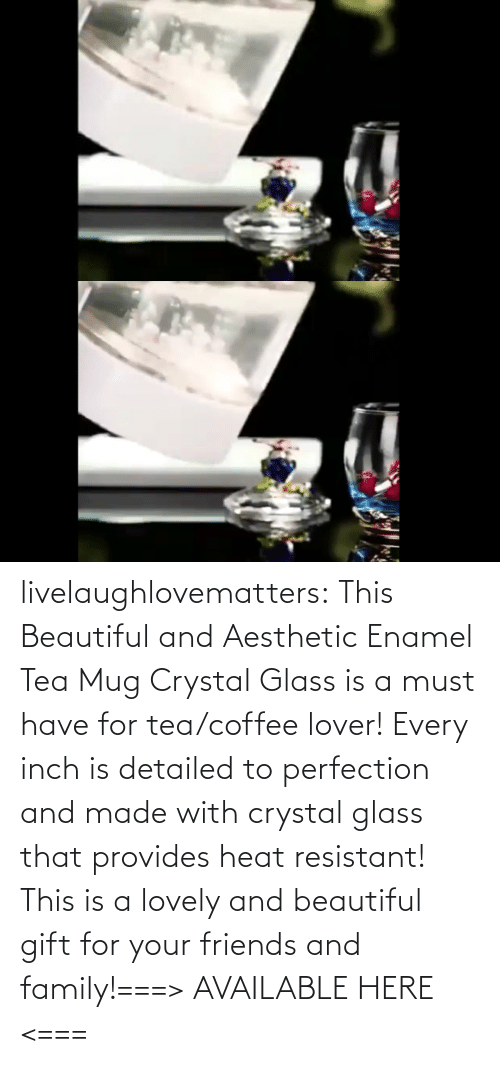 glass: livelaughlovematters:  This Beautiful and Aesthetic Enamel Tea Mug Crystal Glass is a must have for tea/coffee lover! Every inch is detailed to perfection and made with crystal glass that provides heat resistant! This is a lovely and beautiful gift for your friends and family!===> AVAILABLE HERE <===
