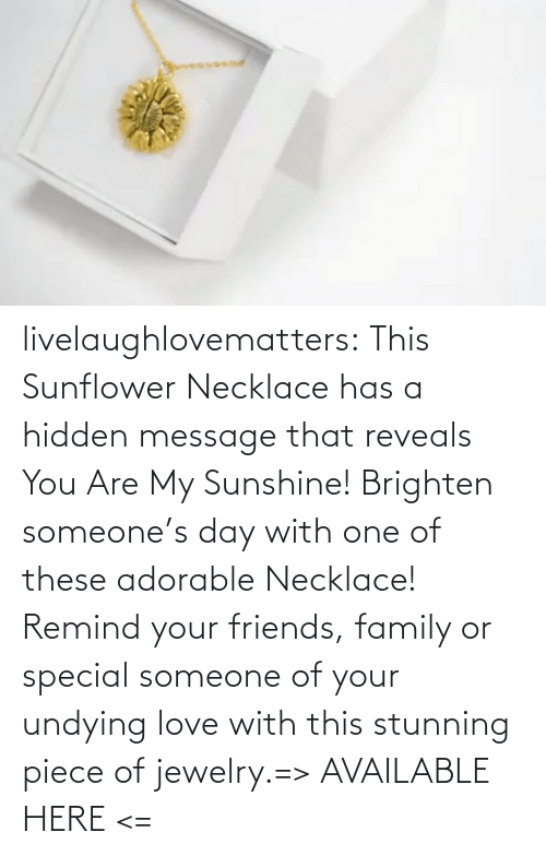 remind: livelaughlovematters:  This Sunflower Necklace has a hidden message that reveals You Are My Sunshine! Brighten someone's day with one of these adorable Necklace! Remind your friends, family or special someone of your undying love with this stunning piece of jewelry.=> AVAILABLE HERE <=