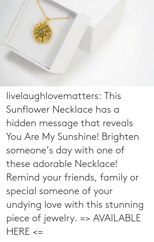 remind: livelaughlovematters:  This Sunflower Necklace has a hidden message that reveals You Are My Sunshine! Brighten someone's day with one of these adorable Necklace! Remind your friends, family or special someone of your undying love with this stunning piece of jewelry. => AVAILABLE HERE <=
