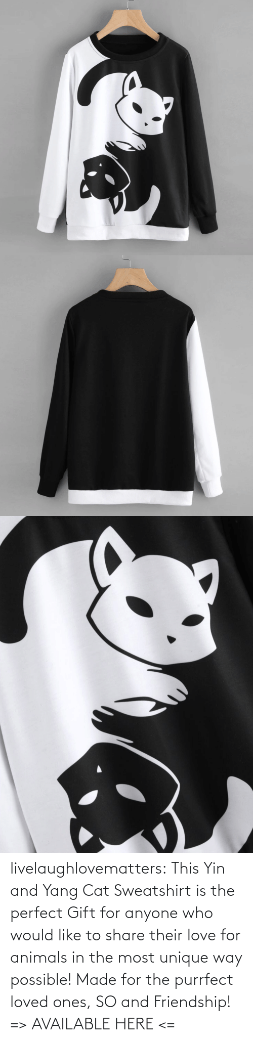 Animals, Love, and Tumblr: livelaughlovematters:  This Yin and Yang Cat Sweatshirt is the perfect Gift for anyone who would like to share their love for animals in the most unique way possible! Made for the purrfect loved ones, SO and Friendship!  => AVAILABLE HERE <=