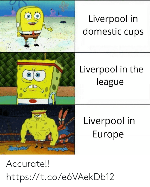 Memes, Liverpool F.C., and Europe: Liverpool in  domestic cups  Liverpool in the  league  Liverpool in  Europe Accurate!! https://t.co/e6VAekDb12