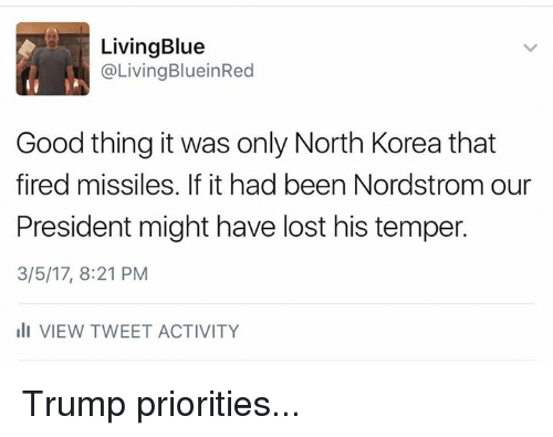Nordstrom: Living Blue  @Living BlueinRed  Good thing it was only North Korea that  fired missiles. If it had been Nordstrom our  President might have lost his temper.  3/5/17, 8:21 PM  III VIEW TWEET ACTIVITY Trump priorities...