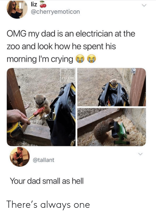 Crying, Dad, and Omg: liz  @cherryemoticon  OMG my dad is an electrician at the  zoo and look how he spent his  morning I'm crying  ASPECIAL  @tallant  Your dad small as hell There's always one