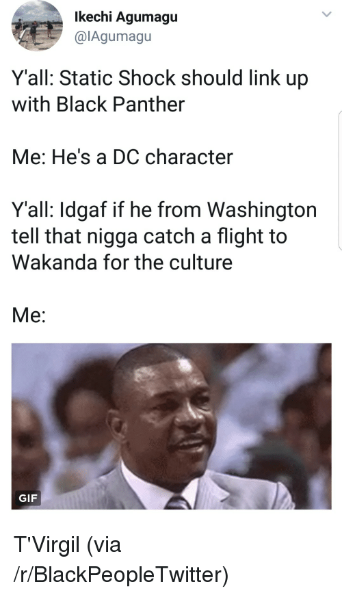 Blackpeopletwitter, Gif, and Static Shock: lkechi Agumagu  @lAgumagu  Y'all: Static Shock should link up  with Black Panther  Me: He's a DC character  Y'all: Idgaf if he from Washington  tell that nigga catch a flight to  Wakanda for the culture  Me:  GIF <p>T'Virgil (via /r/BlackPeopleTwitter)</p>