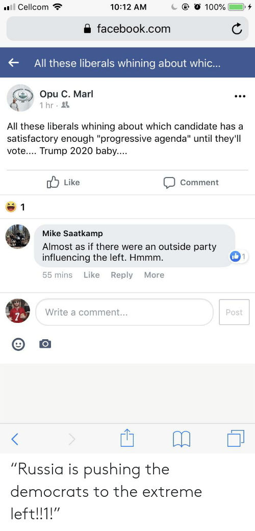 """Vote Trump: ll Cellcom  10:12 AM  100%  facebook.com  All these liberals whining about whic...  Opu C. Marl  1 hr  All these liberals whining about which candidate has a  satisfactory enough """"progressive agenda"""" until they'll  vote... Trump 2020 baby....  Like  Comment  1  Mike Saatkamp  Almost as if there were an outside party  influencing the left. Hmmm.  1  Like  Reply  55 mins  More  Write a comment...  Post """"Russia is pushing the democrats to the extreme left!!1!"""""""