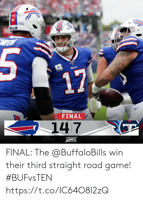 Memes, Game, and Bills: LLS  BILLS  17  FINAL  147 FINAL: The @BuffaloBills win their third straight road game! #BUFvsTEN https://t.co/IC64O8I2zQ
