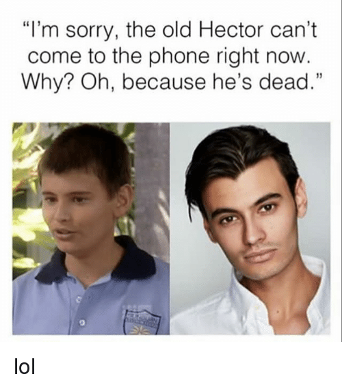 """Lol, Memes, and Phone: """"l'm sorry, the old Hector can't  come to the phone right now  Why? Oh, because he's dead."""" lol"""