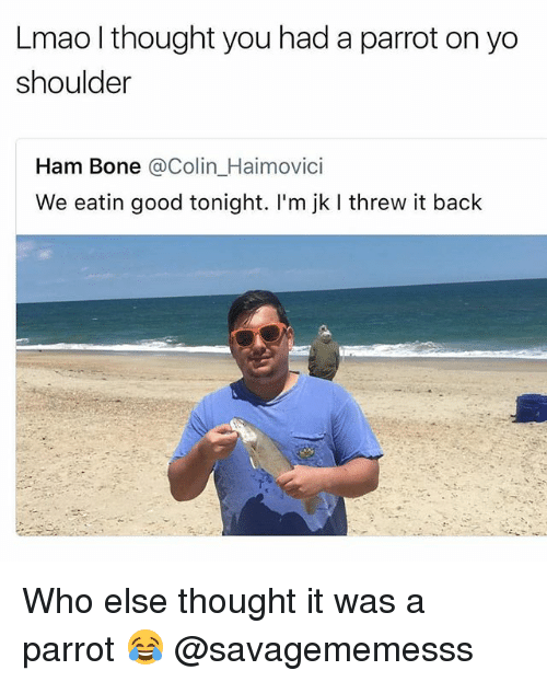 Boning: Lmao l thought you had a parrot on yo  shoulder  Ham Bone @Colin_Haimovici  We eatin good tonight. I'm jk I threw it back Who else thought it was a parrot 😂 @savagememesss