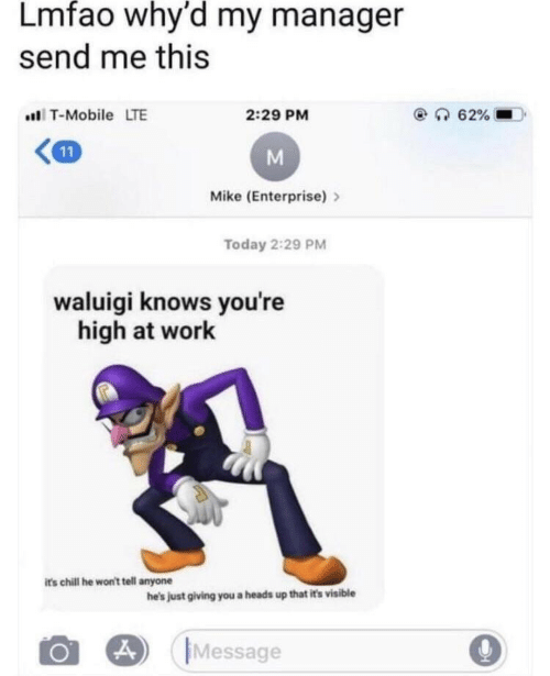 just giving: Lmfao why'd my manager  send me this  T-Mobile LTE  2:29 PM  Mike (Enterprise)>  Today 2:29 PM  waluigi knows you're  high at work  its chill he won't tell anyone  he's just giving you a heads up that it's visible  Message