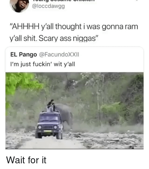"Ass, Memes, and Shit: @loccdawgg  ""AHHHH y'all thought i was gonna ram  y'all shit. Scary ass niggas""  EL Pango @FacundoXXII  I'm just fuckin' wit y'all Wait for it"