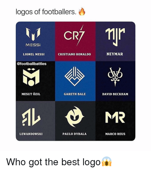 Cristiano Ronaldo, David Beckham, and Gareth Bale: logos of footballers.  1 CR  MESSi  LIONEL MESSI  CRISTIANO RONALDO  NEYMAR  @footballbattles  MESUT ÖZIL  GARETH BALE  DAVID BECKHAM  LEWANDOWSKI  PAULO DYBALA  MARCO REUS Who got the best logo😱