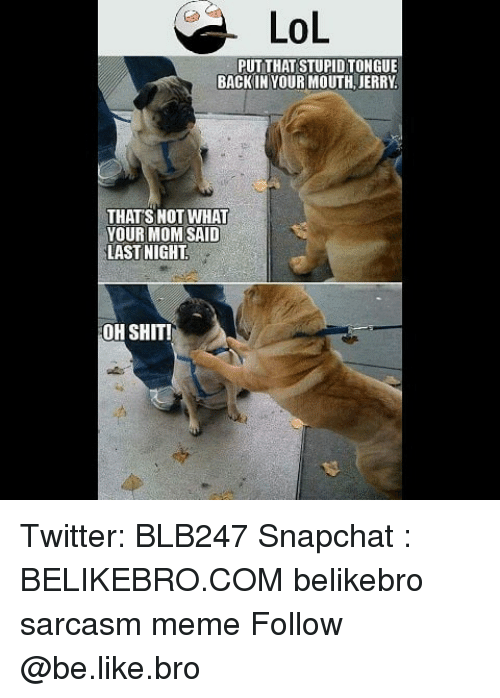 Be Like, Lol, and Meme: LOL  PUT THAT STUPID TONGUE  BACKIN YOUR MOUTH,JERRY  THATS NOT WHAT  YOUR MOM SAID  LASTNIGHT  OH SHIT! Twitter: BLB247 Snapchat : BELIKEBRO.COM belikebro sarcasm meme Follow @be.like.bro