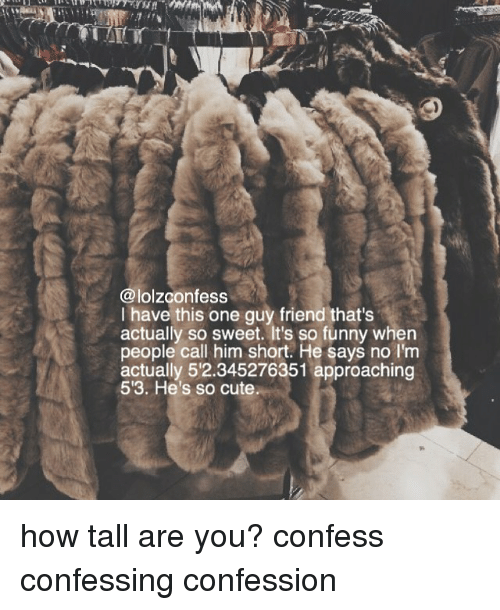Cute, Funny, and Memes: @lolzconfess  I have this one guy friend that's  actually so sweet. It's so funny when  people call him short. He says no I'm  actually 52.345276351 approaching  53. He's so cute how tall are you? confess confessing confession