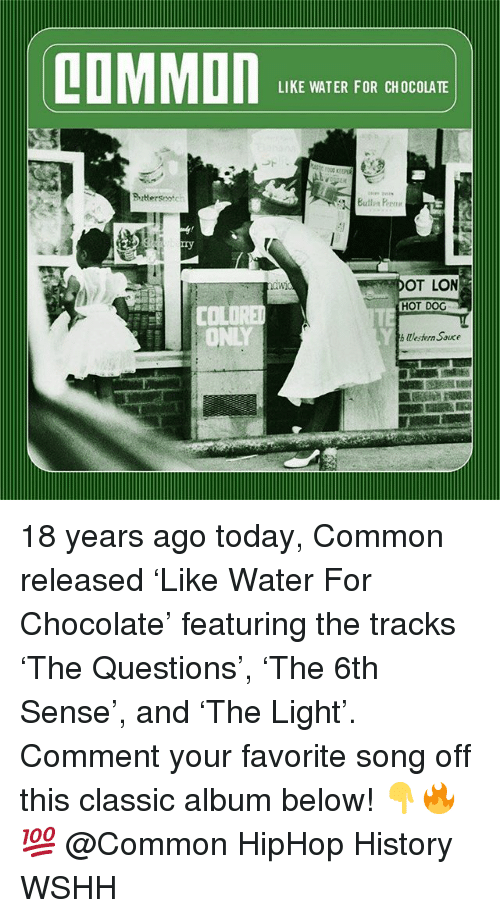 Memes, Wshh, and Chocolate: LOMMON  LIKE WATER FOR CHOCOLATE  OT LON  HOT DOG  CO  ONLY  Wlestern Souce 18 years ago today, Common released 'Like Water For Chocolate' featuring the tracks 'The Questions', 'The 6th Sense', and 'The Light'. Comment your favorite song off this classic album below! 👇🔥💯 @Common HipHop History WSHH