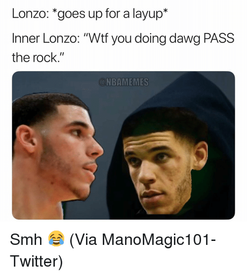 """Basketball, Nba, and Smh: Lonzo: *goes up for a layup*  Inner Lonzo: """"Wtf you doing dawg PASS  the rock.""""  CNBAMEMES Smh 😂 (Via ManoMagic101-Twitter)"""
