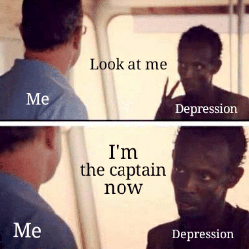 Depression, Now, and Look: Look at me  Мe  Depression  I'm  the captain  now  Ме  Depression