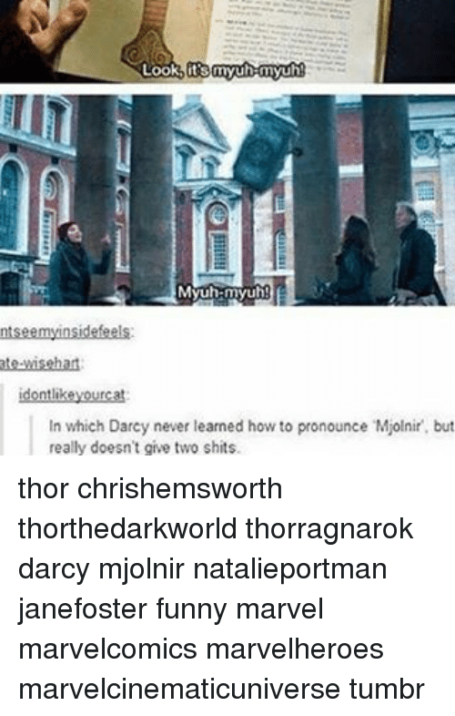 Funny Marvel: Look its myuh myuh  Myun-myuh  ntseemyinsidefeels  ate-wisehat  idontlike yourcat  in which Darcy never learned how to pronounce Mjolnir. but  really doesn't give two shits. thor chrishemsworth thorthedarkworld thorragnarok darcy mjolnir natalieportman janefoster funny marvel marvelcomics marvelheroes marvelcinematicuniverse tumbr