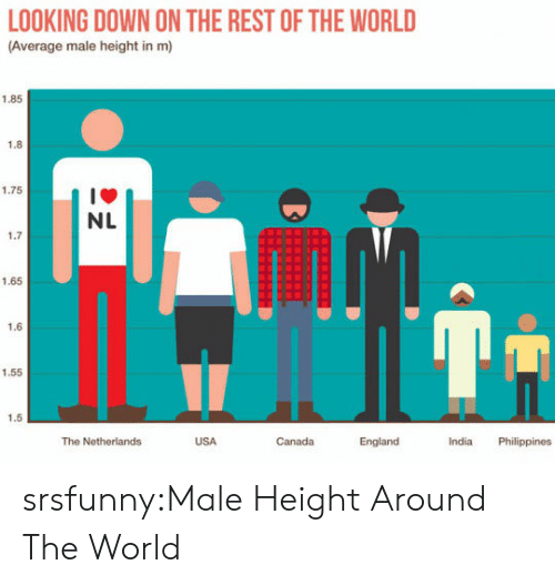 England, Tumblr, and Blog: LOOKING DOWN ON THE REST OF THE WORLD  (Average male height in m)  1.85  1.8  1.75  1箩  NL  1.7  1.65  1.6  1.55  1.5  The Netherlands  USA  Canada  England  India Philippines srsfunny:Male Height Around The World