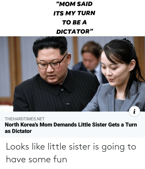 Looks: Looks like little sister is going to have some fun
