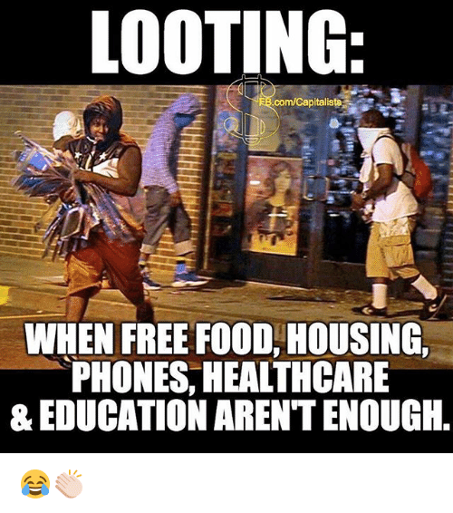 looting: LOOTING  com/Capitaliste  WHEN FREE FOOD, HOUSING  PHONES, HEALTHCARE  & EDUCATION ARENTENOUGIH, 😂👏🏻