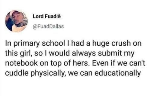 Notebook: Lord Fuad  @FuadDallas  In primary school I had a huge crush  this girl, so I would always submit my  notebook on top of hers. Even if we can't  cuddle physically, we can educationally