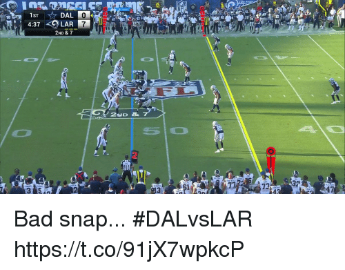 anas: LOS ANa  90  40  4:37 LAR 7  2ND & 7  アウ  73  32  13  4 Bad snap... #DALvsLAR https://t.co/91jX7wpkcP