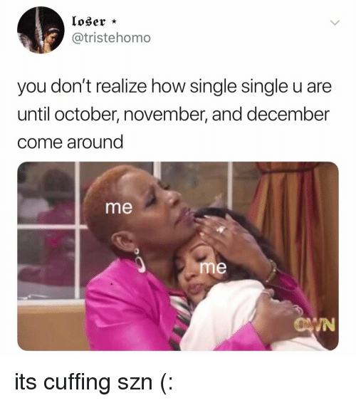 Relatable, Single, and How: loser *  @tristehomo  you don't realize how single single u are  until october, november, and december  come around  me  0  me  IN its cuffing szn (: