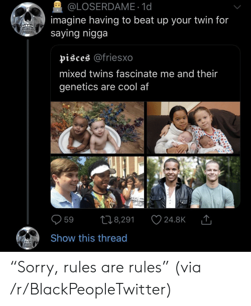 """Af, Blackpeopletwitter, and Twins: @LOSERDAME 1d  imagine having to beat up your twin for  saying nigga  pisces @friesxo  mixed twins fascinate me and their  genetics are cool af  598,291 24.8KT  Show this thread """"Sorry, rules are rules"""" (via /r/BlackPeopleTwitter)"""