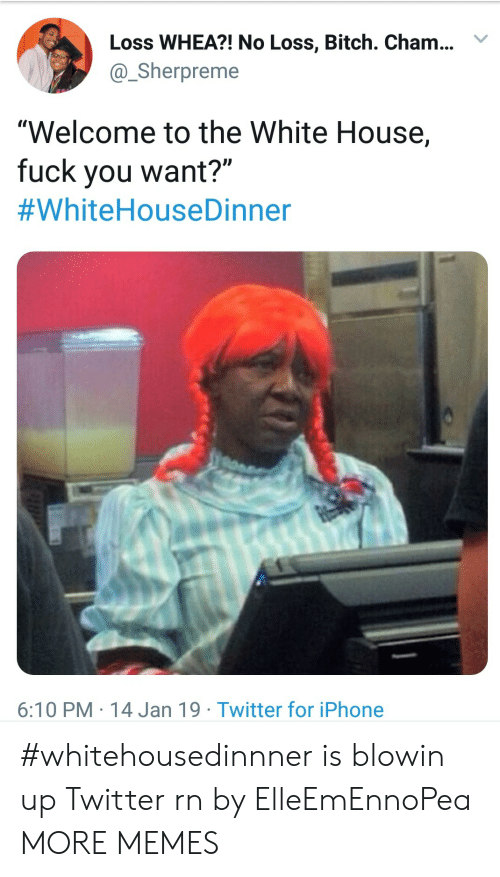 """Bitch, Dank, and Fuck You: Loss WHEA?! No Loss, Bitch. Cham..Y  @Sherpreme  """"Welcome to the White House,  fuck you want?""""  #WhiteHouseDinner  6:10 PM 14 Jan 19 Twitter for iPhone #whitehousedinnner is blowin up Twitter rn by ElleEmEnnoPea MORE MEMES"""