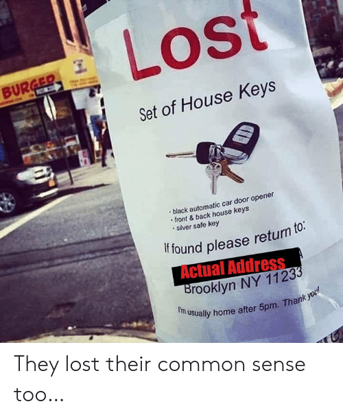 Common Sense: Lost  BURGER  C  Set of House Keys  black automatic car door opener  front&back house keys  silver safe key  if found please return to:  Actual Address  Brooklyn NY 11233  f'm usually home after 5pm. Thank you They lost their common sense too…