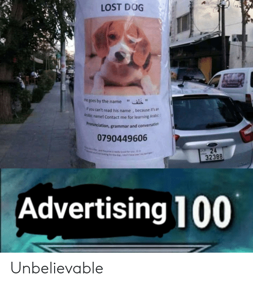 "Arabic: LOST DOG  He goes by the name""  f you can't read his name , because it's an  Arabic name! Contact me for learning Arabic:  ronunciation, grammar and conversation  Pr  0790449606  32388  Advertising 100 Unbelievable"