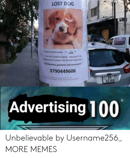 "Arabic: LOST DOG  He goes by the name""  f you can't read his name , because it's an  Arabic name! Contact me for learning Arabic:  ronunciation, grammar and conversation  Pr  0790449606  32388  Advertising 100 Unbelievable by Username256_ MORE MEMES"