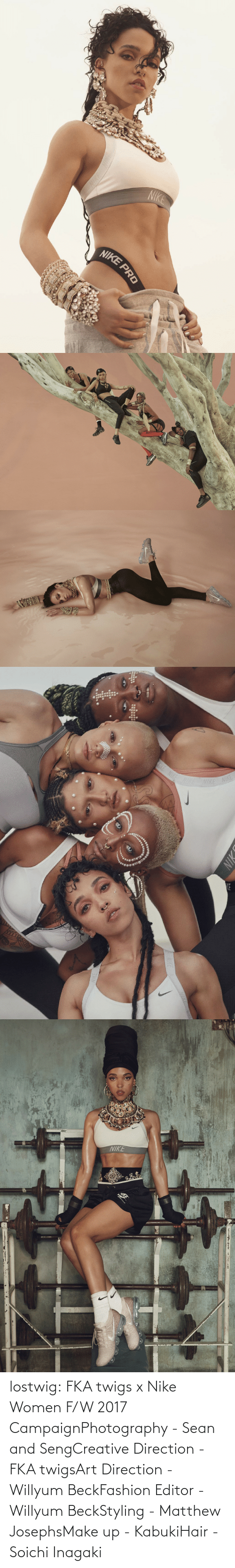 Nike: lostwig:  FKA twigs x Nike Women F/W 2017 CampaignPhotography - Sean and SengCreative Direction - FKA twigsArt Direction - Willyum BeckFashion Editor - Willyum BeckStyling - Matthew JosephsMake up - KabukiHair - Soichi Inagaki