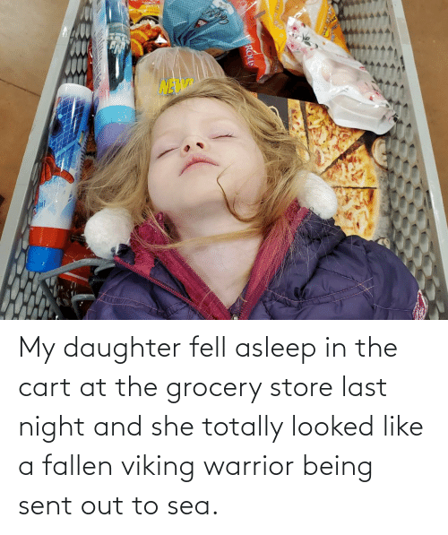 Grocery: Lotange My daughter fell asleep in the cart at the grocery store last night and she totally looked like a fallen viking warrior being sent out to sea.