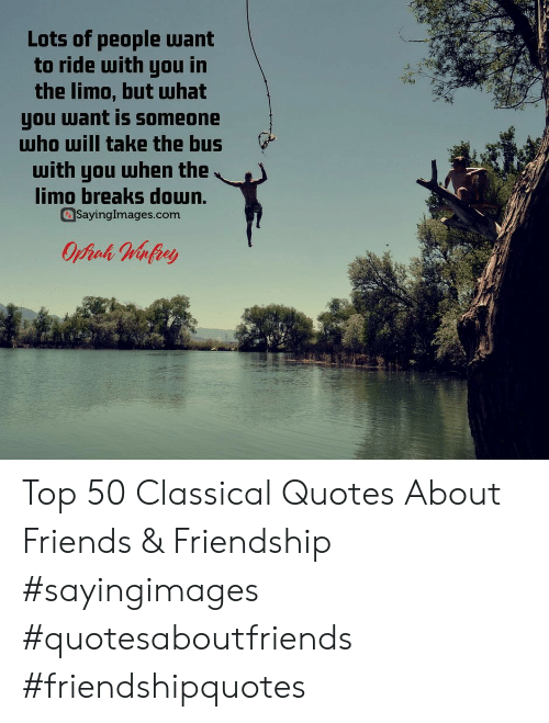 Friends, Quotes, and Friendship: Lots of people want  to ride with you in  the limo, but Шhat  you want is someone  who will take the bus  with you when the  limo breaks doun.  Sayinglmages.com Top 50 Classical Quotes About Friends & Friendship #sayingimages #quotesaboutfriends #friendshipquotes