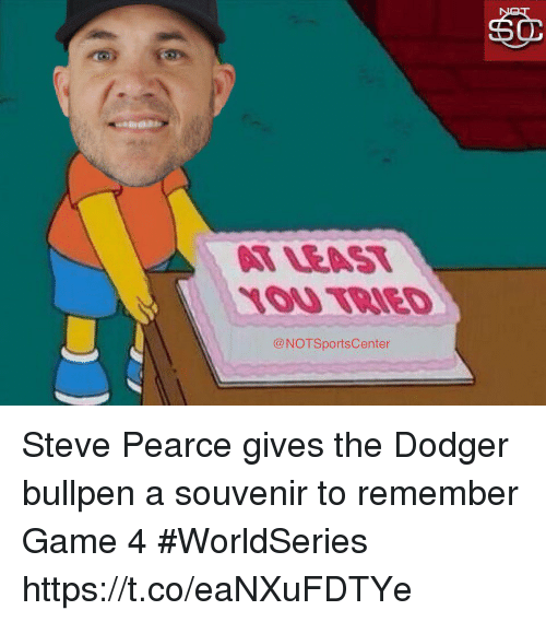 bullpen: LOU TRIED  @NOTSportsCenter Steve Pearce gives the Dodger bullpen a souvenir to remember Game 4 #WorldSeries https://t.co/eaNXuFDTYe