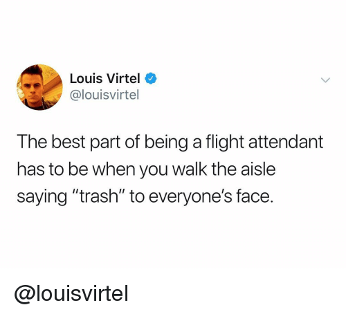 """Trash, Best, and Flight: Louis Virtel o  @louisvirtel  The best part of being a flight attendant  has to be when you walk the aisle  saying """"trash"""" to everyone's face. @louisvirtel"""