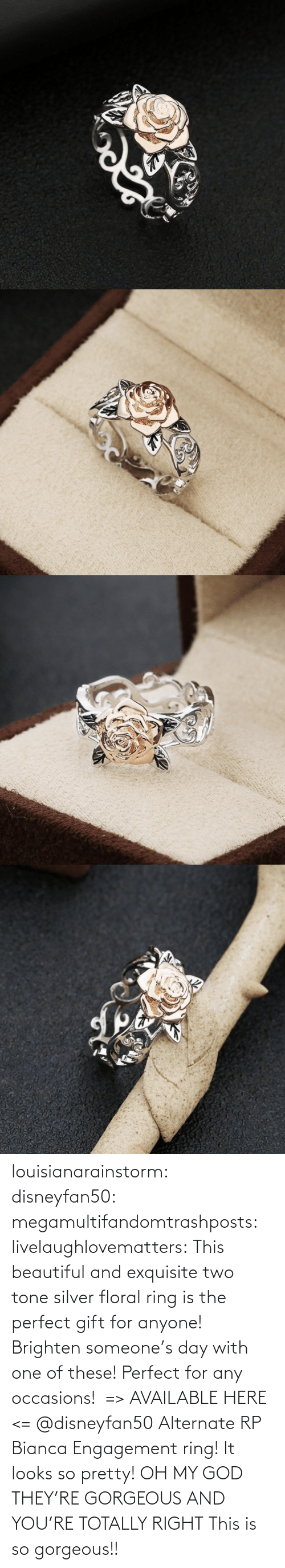Silver: louisianarainstorm: disneyfan50:  megamultifandomtrashposts:  livelaughlovematters:  This beautiful and exquisite two tone silver floral ring is the perfect gift for anyone! Brighten someone's day with one of these! Perfect for any occasions!  => AVAILABLE HERE <=    @disneyfan50 Alternate RP Bianca Engagement ring! It looks so pretty!  OH MY GOD THEY'RE GORGEOUS AND YOU'RE TOTALLY RIGHT    This is so gorgeous!!